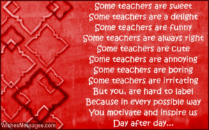 Thank You Poem For Teacher Thank you poems for teacher: