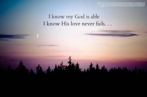 Know My God Is Able