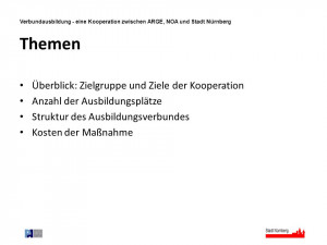 Verbundausbildung - eine Kooperation zwischen ARGE, NOA und Stadt ...