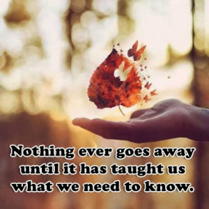 Nothing Ever Goes Away until It Teaches Us