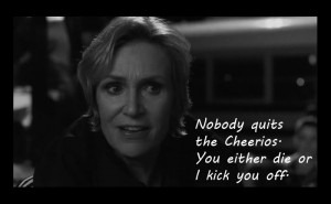 sue to brittany santana and quinn in the sue sylvester superbowl ...
