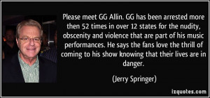 Please meet GG Allin. GG has been arrested more then 52 times in over ...