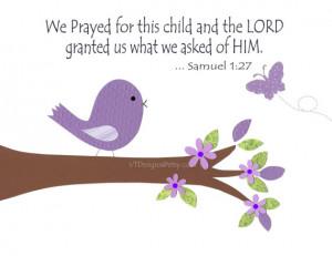 Baptism Gift, Christian Nursery Decor,Baby Girl Nursery, Purple, Bird ...