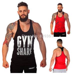 GymShark Fitness Tank Top Men Stringer Gym Shark Bodybuilding Muscle ...