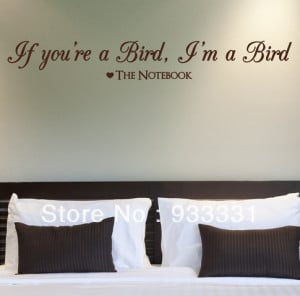 5pcs/lot THE NOTEBOOK, LARGE WALL STICKER, Bird , Quote , Love , Decal ...