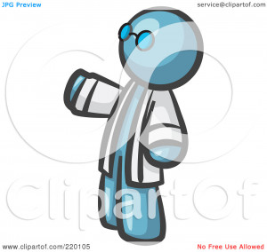 ... Man Scientist Wearing Blue Glasses And A Lab Coat by Leo Blanchette