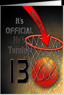 13th Birthday Party Invitations - BASKET BALL -NET - TEEN BOY card ...