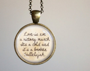 Leonard Cohen Hallelujah Inspired L yrical Quote Pendant Necklace ...