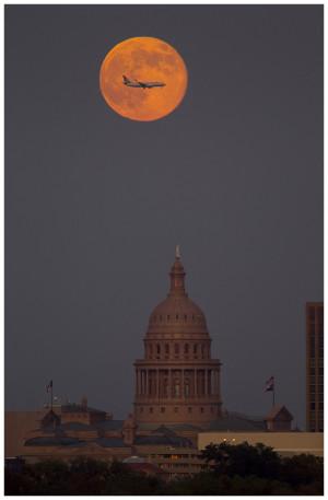 Harvest moon over Austin, Texas capitol