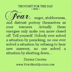 Thought For The Day, fear quotes, anger quotes
