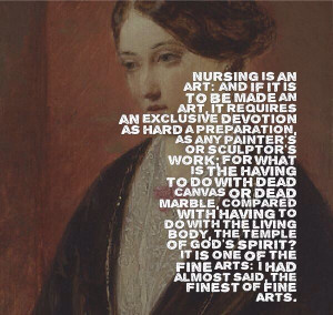 Nursing is an art -Florence Nightingale; the lady with the lamp