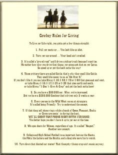 ... Keepsake Life's Lessons 8 x 10 or 8.5 x 11 Poem: Cowboy Rules For