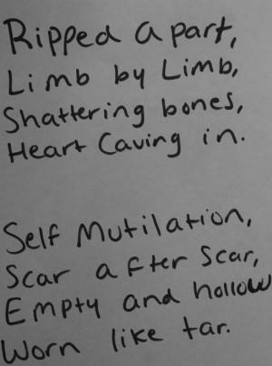 ... in. Self mutilation, scar after scar, empty and having warn like tar
