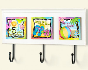 Fun and Colorful Beach Art Wall Rack Plaque with Quotes