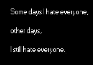 Some days I hate Everyone,other days.I Still hate Everyone