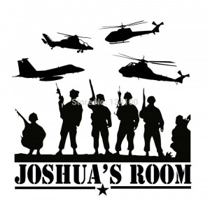 Army Marines Navy Vinyl Wall Decal for Boys Bedroom Military ...