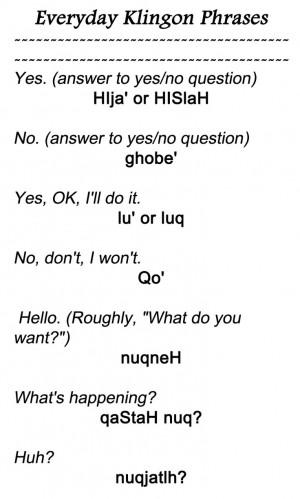 Everyday Klingon Phrases 1 from http://www.kli.org/tlh/phrases.html