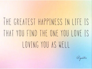 Love equals happiness :)