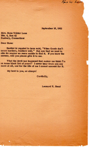 Letter From Leonard Read to Rose Wilder Lane on September 16, 1952