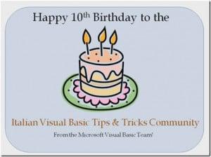 Happy 10th Birthday to the Italian VB Tips and Tricks Community! (Lisa ...