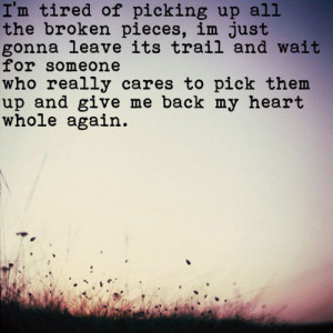 tired of picking up all the broken pieces, im just gonna leave its ...