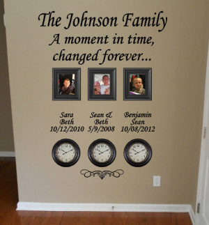 Time Stood Still Family Clock Wall Decal
