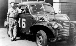 Juan Manuel Fangio with 1940 Chevrolet race car