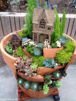 Fairy garden or Gnome garden idea from a broken terra cotta pot with ...