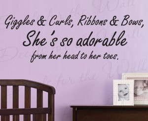 Giggles and Curls Girl's Room Nursery Vinyl Wall Quote Decal
