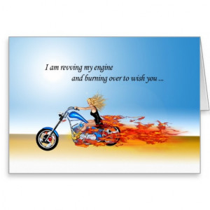 Happy Birthday with a Flaming Motorcycle Cards