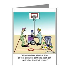 Shooting Trash Baskets Note Cards (Pk of 20) for