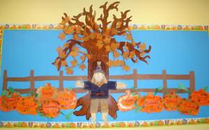 Falling Into Fall - Pumpkins & Fall Leaves Bulletin Board Idea