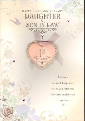 1st Wedding Anniversary Gift For Daughter And Son In Law : Image for First Anniversary Daughter and Son-In-Law Anniversary Card