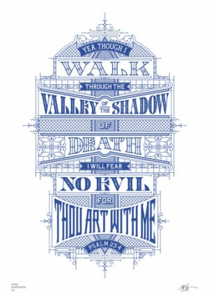 Inspirational quotes: Psalm 23 poster 'Ink Blue'