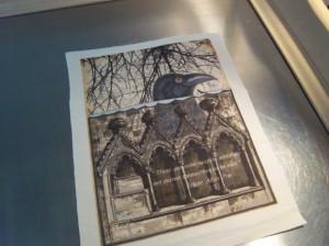 Raven fabric panel handmade Edgar Allan Poe quote scrapbooking supply ...