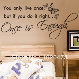 You Only Live Once With Butterfly!Removable DIY Wall Stickers Quotes ...