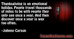 Traveling for Thanksgiving, A Johnny Carson Comedy Quote