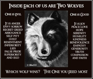 ... wolf wins the elder cherokee indian replied the wolf that you feed