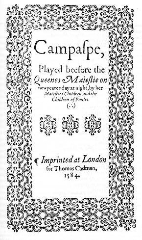 Title-page of Campaspe (1584)
