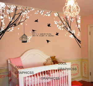 ... children wall decal - Two Branch Corner with Flying Birds and Quote