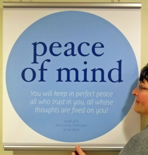 "... and quotes | Peace of mind"" theme window poster with Bible quote"