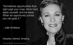 Work hard, apply yourself, and grab that opportunity! ~ Julie Andrews ...