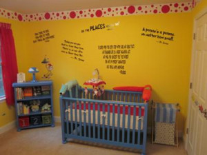 favorite Dr Seuss quotes and red and white wallpaper border decorate ...
