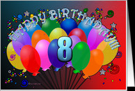 Happy 8th Birthday Cheerful Colorful Party Balloon birthday bunch ...