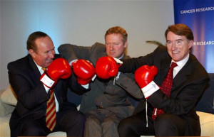 Coming out fighting: Andrew Neil, Rory Bremner and Peter Mandelson at ...