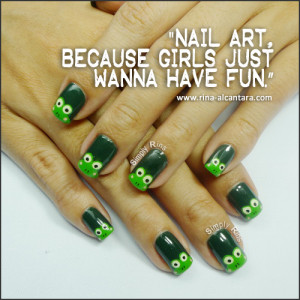 Nail art used in photo is Keroppi Wannabes .