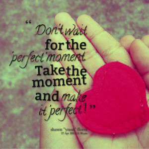 Quotes Picture: don't wait for the 'perfect' moment take the moment ...