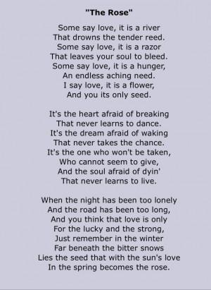 The Rose ~ Lyrics by Amanda Mcbroom Copyright: Third Story Music Inc ...