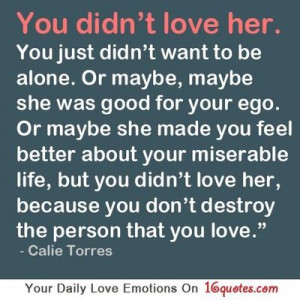 ... you didn't love her, because you don't destroy the person that you