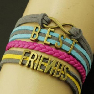 Unique best friends quote bronze beads charm friendship bracelet gift